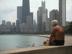 Man at Oak Street Beach in Chicago
